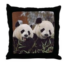 Pandas Eating Throw Pillow