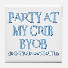 PARTY AT MY CRIB Tile Coaster