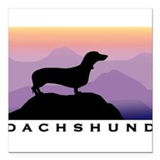 "Unique Dachshund lovers Square Car Magnet 3"" x 3"""