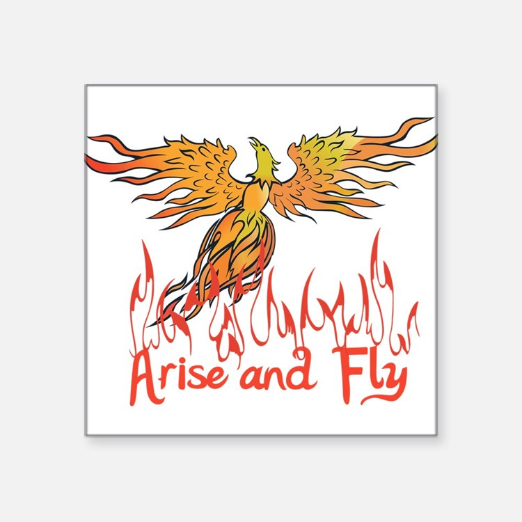 """Arise and Fly Square Sticker 3"""" x 3"""""""
