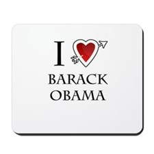 i love Barack Obama heart Mousepad