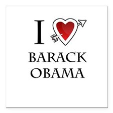 "i love Barack Obama heart Square Car Magnet 3"" x 3"