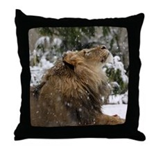 Lion in Snow Throw Pillow
