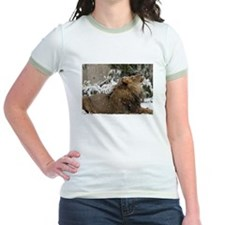 Lion in Snow Jr. Ringer T-Shirt