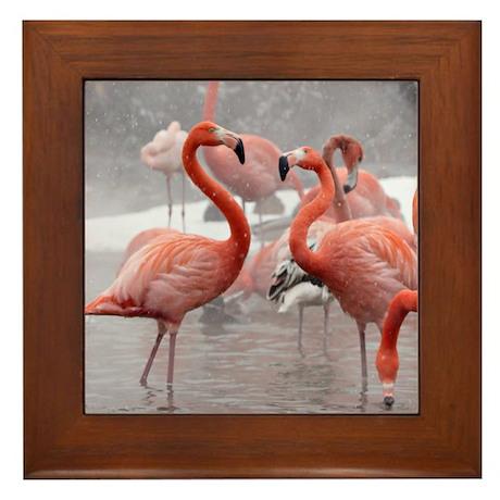2 Flamingos Framed Tile