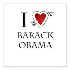 "i love Barack Obama heart Square Car Magnet 3"" x 3"