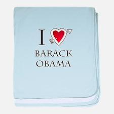 i love Barack Obama heart baby blanket