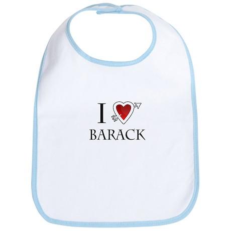 i love Barack Obama heart Bib