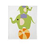 Elephants on a Ball Throw Blanket