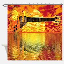 Sunset Guitar Shower Curtain