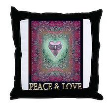 PEACE LOVE MANDALA Throw Pillow