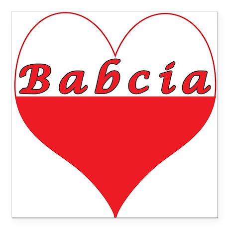 "Babcia Polish Heart Square Car Magnet 3"" x 3"""
