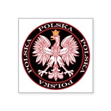 "Polska Red Egle Circle Square Sticker 3"" x 3"""