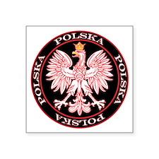 "Polska Red Egle Circle Square Sticker 3"" x 3"""