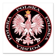 "Polska Red Egle Circle Square Car Magnet 3"" x 3"""