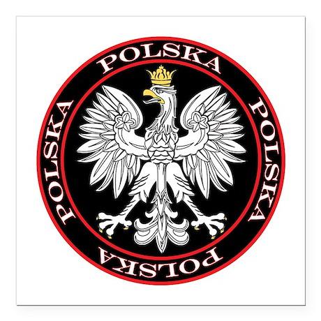 """Polska Eagle Circle Square Car Magnet 3"""" x 3"""""""