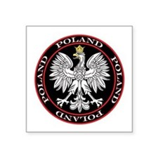 "Poland Eagle Circle Square Sticker 3"" x 3"""