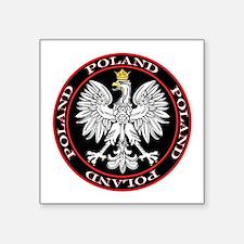 """Poland Eagle Circle Square Sticker 3"""" x 3"""""""