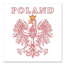 "Poland Eagle Red Square Car Magnet 3"" x 3"""