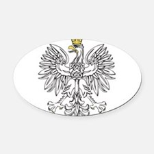 Polish Eagle With Gold Crown Oval Car Magnet