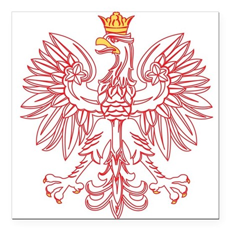"""Polish Eagle Outlined In Red Square Car Magnet 3"""""""