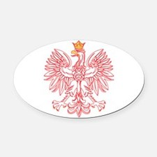 Polish Eagle Outlined In Red Oval Car Magnet