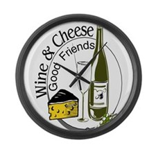 Wine Cheese Friends Large Wall Clock