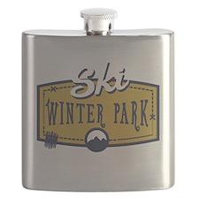 Ski Winter Park Patch Flask