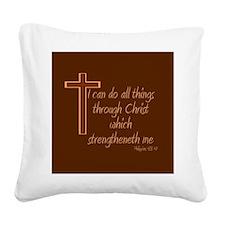 Philippians 4 13 Square Canvas Pillow