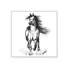 "Runner Arabian Horse Square Sticker 3"" x 3"""