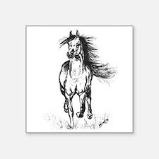 """Runner Arabian Horse Square Sticker 3"""" x 3"""""""