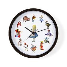 All Around Alice In Wonderland Wall Clock