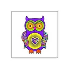 "Purple Psychedelic Owl Square Sticker 3"" x 3"""