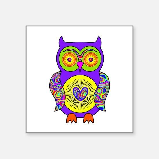 "Purple Psychedelic Owl Square Sticker 3"" x 3"""
