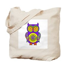 Purple Psychedelic Owl Tote Bag