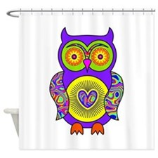 Purple Psychedelic Owl Shower Curtain