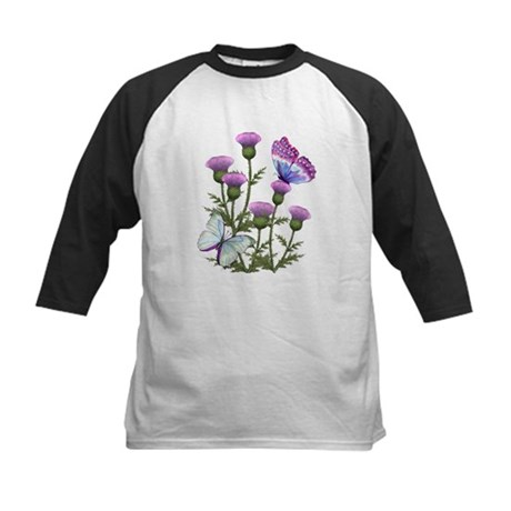 Thistles and Butterflies Kids Baseball Jersey