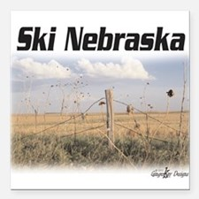 "Ski Nebraska Square Car Magnet 3"" x 3"""