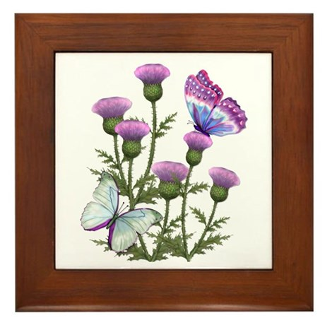 Thistles and Butterflies Framed Tile