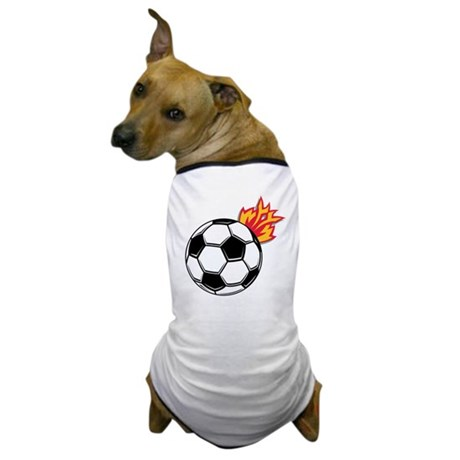 Soccer Ball With Flames Dog T-Shirt