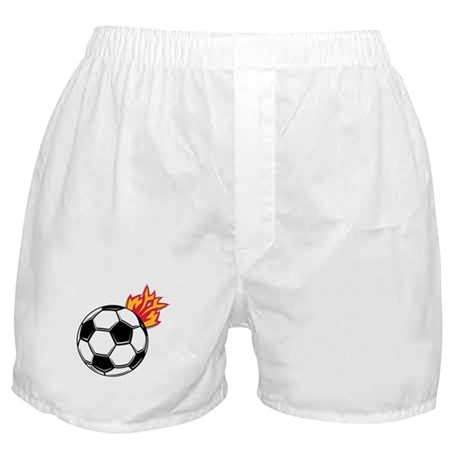 Soccer Ball With Flames Boxer Shorts