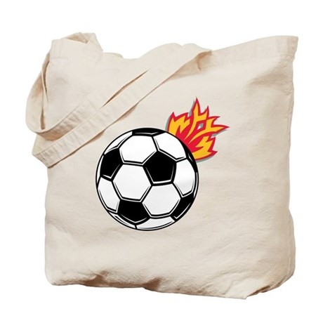 Soccer Ball With Flames Tote Bag