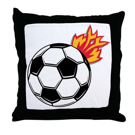 Soccer Ball With Flames Throw Pillow