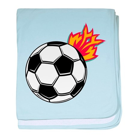 Soccer Ball With Flames baby blanket