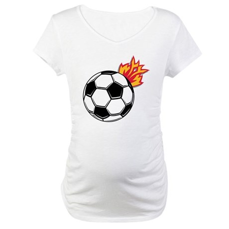Soccer Ball With Flames Maternity T-Shirt