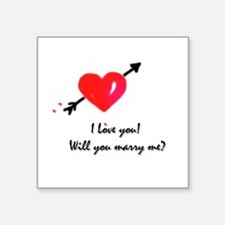 "I love you Marriage proposal Square Sticker 3"" x 3"