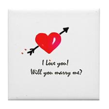 I love you Marriage proposal Tile Coaster