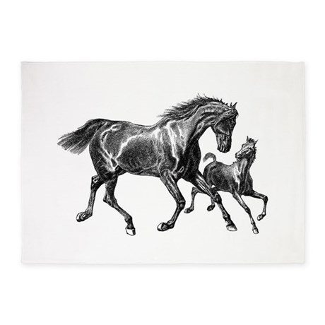 Two Horses 5'x7'Area Rug