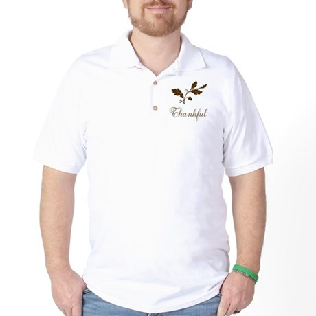 Thankful Brown Oak Leaves Golf Shirt