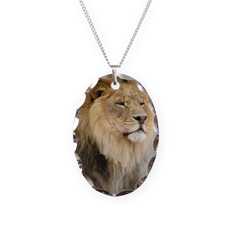 Lion Lovers Necklace Oval Charm